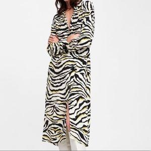 NWT ZARA Zebra Print Midi Dress